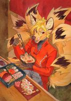 hearty lunch for kitsune by Orphen-Sirius