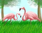 January - Flamingos by ArtistLuver