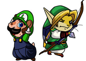 Link and Luigi by G1-Ratbat