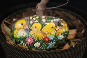 Ducklings and Chicks Hand painted Stone (Etsy) by emmysheartsncrafts