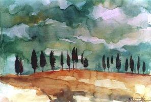 Tuscany landscape by andreuccettiart