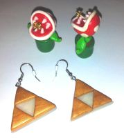 Triforce + Piranha Plant Earrings Fimo by Various-Aliter