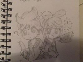 Rin and Len redraw by catscr123
