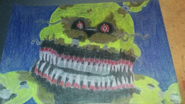 Oil pastel nightmare fred bear by Madfoxy1987