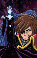 Captain Harlock and Queen Lafresia Final Artwork by brianb3x