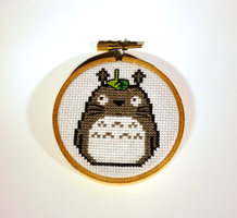 Totoro Cross Stitched Wall Hanging by nerdstitchshop