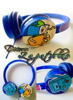 Adventure time custom blue headphones handmade by Raw-J