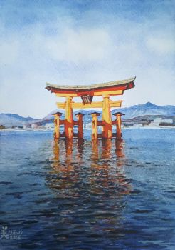 Torii of Itsukushima Shrine by MirielVinya