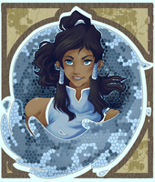 Art Nouveau styled Korra profile by Dreamiko