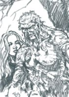 Abby and Swamp Thing sketch by MarcLaming