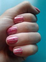 Pink over Pink stripes nail art by LasManiaticas
