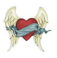 a love heart tattoo with wings by Rhynorulz88