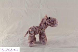 Little Rose and Lavender Valentine Zebra by karenscrochetcorner