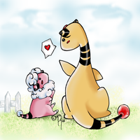 Flaafy and Ampharos by rand0mness125
