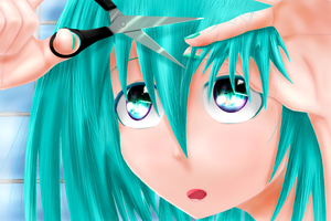 Miku Cutting Fringe by BlakeJX