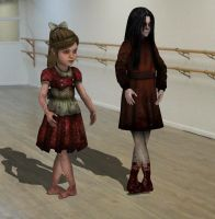 Alma and Little Sister At Ballet Class by enterprisedavid