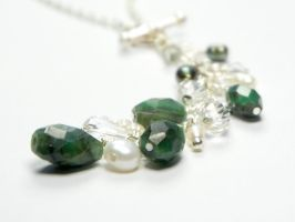 'Forest Bliss' Emerald, Pearl and Crystal Necklace by FLEURDELIER