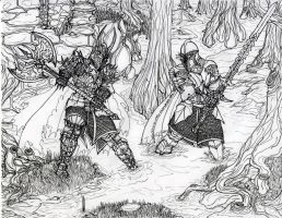 Aeron fight the black knight by draks