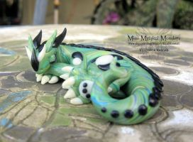 Green Swirl Sleeping Dragon by MiniMythicalMonsters