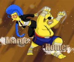 SF X Tekken : Homer and Marge by pandadidge