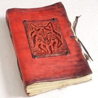 Wolf Leather Journal. Dark Red by gildbookbinders