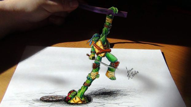 Leo and Raph- speed drawing 3D (video and picture) by JR-Julia