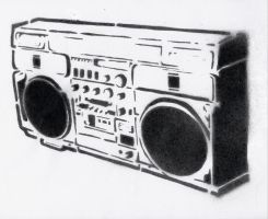 Ghetto blaster-STENCIL by crusty-punk