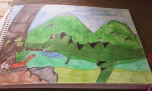 Janet and baby argentinosaurus by VaderNihilus