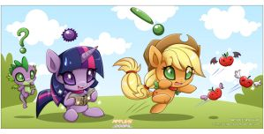 Chao MLP:Twilight, AppleJack and Spike by Extra-Fenix