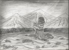 Girl Drawing on Mountain Top by CrappyMSPaintArt