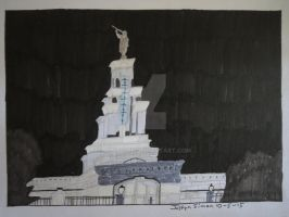 InkTober Drawing #5 LDS Columbia River Temple by Justyn16