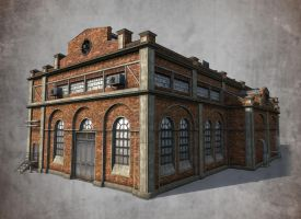 Low poly 3d model of old factory by Sergey-Ryzhkov