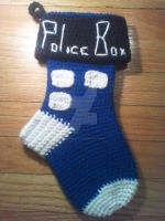 Doctor Who TARDIS 13in (33cm) Christmas Stocking by ohsugarfoot