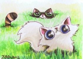 Funny cat watercolour dont cut the grass by KingZoidLord