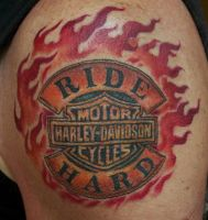 Harley Davidson Ride Hard Tattoo done by Sean Ambr by seanspoison