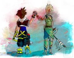 Kenya and Sora (King and Lionheart) by Doodlee-a