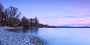 Spring sunset at the lake - Panorama by da-phil
