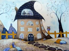 who lives here? by dragonflywatercolors