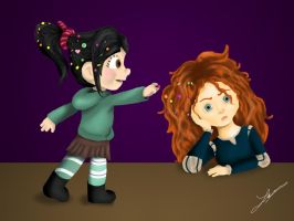 Secret Santa Gift Vanelope Meets Merida by Gilove2dance