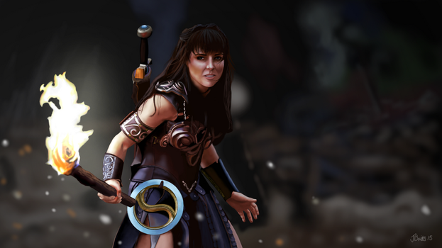 Young Xena - Warrior Princess GIMP Drawing by Britsie1