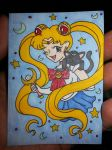 Sailor Moon and Luna ACEO by Penji