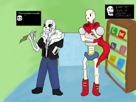 Skelebros in a spaghetti shop (Undertale) by LeafStudios