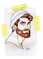 Bearded colored on trace paper by ArtByFab