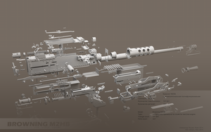 Browning M2HB disassembled (in grey) by ABiator