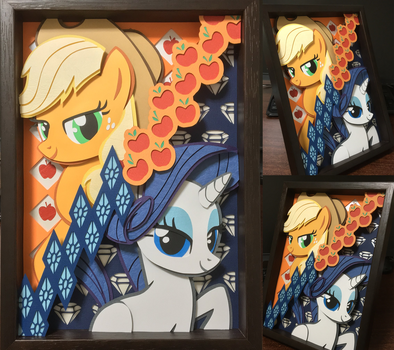 shadow box applejack and rarity by robicraft