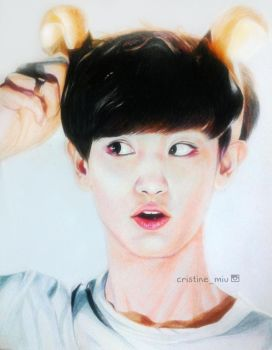 Chanyeol Color Pencil Portrait by CristineMiu