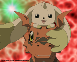 Guilmon and Terriermon by Crimson-Flazey