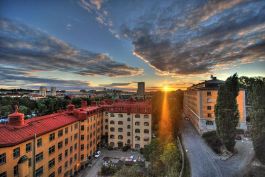 stockholm sunset by bombtea