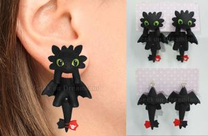 Toothless How To Train Your Dragon Earrings by GeekOnDreamland