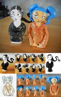 Nemi And Cyan Half-Size Clay Statuettes by nicolaykoriagin